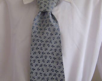 Baby Boys pre-tied Blue floral silk elasticated tie
