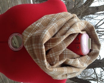 Flannel Infinity Scarf - Tan