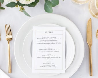 Printable Wedding Menu Printable - Modern Minimalist Wedding Menu Download - Ready to Print PDF - Letter or A4 Size (Item code: P263)