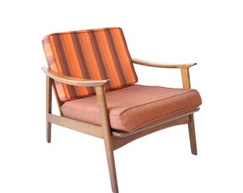 Vintage Mid Century Modern Lounge Chair with Striped Cushions