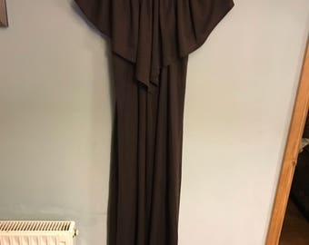 Vintage 70s long party dress in brown and cream