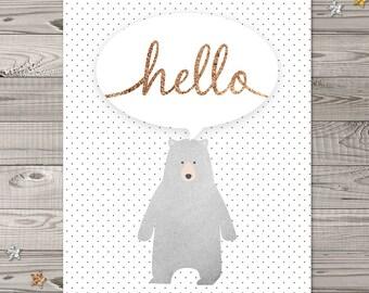 """Bear Nursery Wall Art, Instant Download, 8x10"""", Woodland Nursery Art, Glitter Nursery Art, Hello Nursery Wall Art, Bear nursery art"""