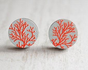 Coral Reef - Wood Stud Earrings