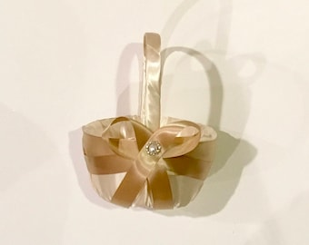 wedding flower girl basket ivory color satin with champagne ribbon custom made