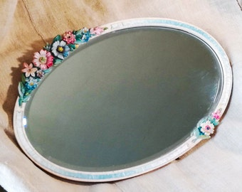 Antique BARBOLA wall MIRROR Ovale Shape Ribbon & Gesso flowers, barbola antique mirrors, vintage wall mirror, antique barbola decorations