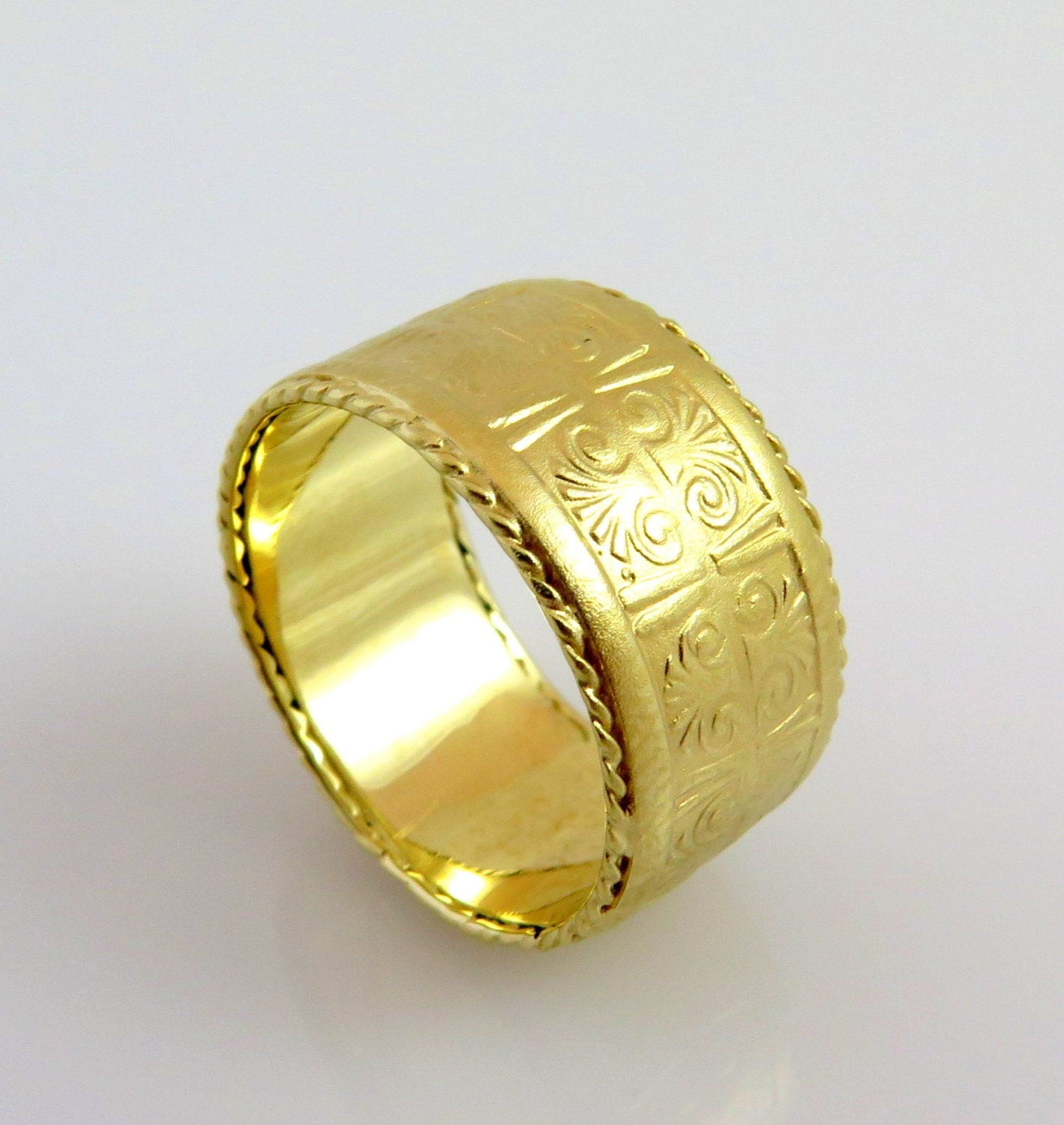 wedding dome rings yellow band heavy gold solid best bands mens her for plain ring of