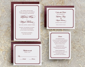 Burgundy Wedding Invitation, Marsala Wedding Invitations, Traditional, Save the Dates, Menus, Programs, Table Numbers, Place Cards
