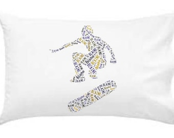 Personalized Pillowcase Skateboarder Pillow Room Decor Gift Monogram Accessories Snowboard by Mary's Canary