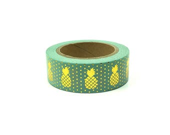 Gold Foil Washi/Washy/Craft/Masking/Scrapbooking Tape | Blue | Pineapple and Polka Dots | 1.5cm x 10m | Craft Supplies | ShimmerWorks