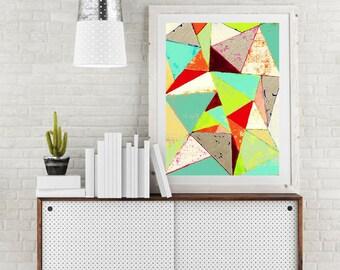 Triangle art, geometric art, contemporary art print, modern art print, colorful wall art, midcentury art, Scandinavian art, art, abstract