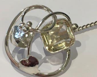 Solid silver leaf design stick pin set with citrine