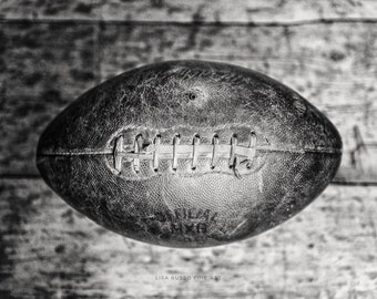 Vintage Football Print or Canvas Art, Football Gift for Boys Under 50, Gifts for Men, Black and White Football Print, Vintage Sports Decor.