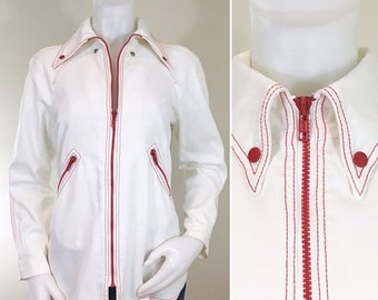 30% Off Sale 70s White Stag White Cotton Canvas and Red Zip Jacket, Medium