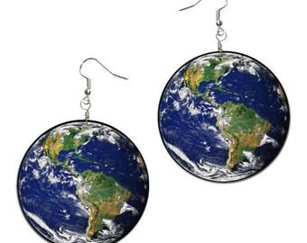 Earth Globe Earrings, Planet Earth Earring, Globe Jewelry, decoupage handmade earrings, Hypoallergenic Earrings