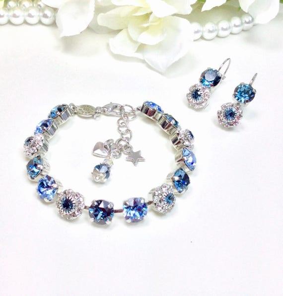Swarovski Crystal 8.5mm Bracelet With Flowers -Beautiful Denim Blue & Lt. Sapphire With Swarovski Flowers-Designer Inspired - FREE SHIPPING