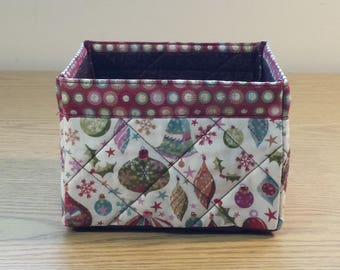 Quilted Fabric Box (XBX07) Christmas Ornaments