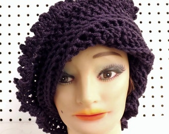 Womens Crochet Hat,  Womens Hat Trendy,  Steampunk Hat,  Purple Hat,  Lisa Picot Crochet Beanie Hat Women