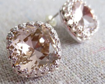 Swarovski Crystal Crown Post Earrings, Blush Pink Cushion Cut Square, Silver, Bridal Jewelry, Bridesmaids Gifts, Light Pale Rose