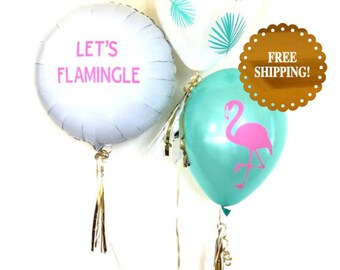 Flamingo Balloons. Flamingo Party Decorations. Flamingo Party Supplies. Lets Flamingle Balloon. Palm Balloons. Tropical Party Decor.