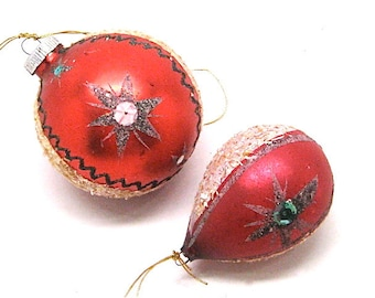 Vintage West German Christmas Ornaments, Round and Tear Drop, Blown Glass Balls with Mica and Sequins, c1950