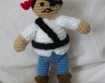 PDF - Pirate amigurumi doll crochet pattern. Instant download