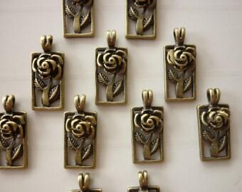 5 charm flower rose Medallion rectangular bronze