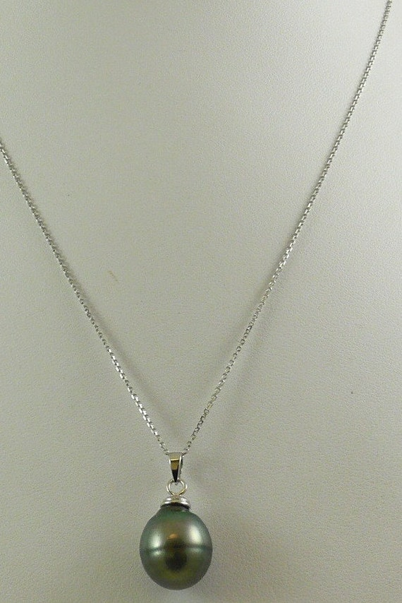 Tahitian Black Baroque Pearl Pendant with 14k White Gold Chain 18 Inches