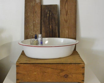 Large White Oval Enamelware Basin with Red Trim