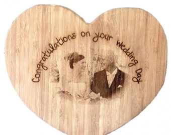 Photo Engraved Heart shaped chopping board