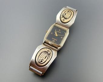 Stunning vintage Hopi 14 k gold overlay watch bracelet SKU 5653