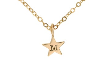 Petite Gold Star Charm Necklace Hand Stamped 14K Initial Pendant Personalized Custom Engraved Artisan Handmade Fine Designer Fashion Jewelry