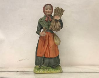 Vintage Handpainted Old Fasioned Women Sculpture W/ Crossed Arrow and Sword Mark