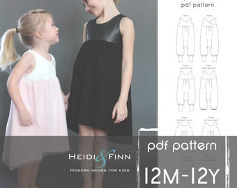 Sugar n' Spice romper and dress PDF pattern and tutorial 12m-12y  tunic dress jumper playsuit easy sew