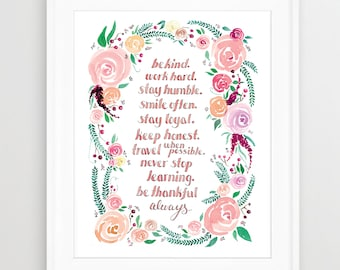 Floral Wreath WATERCOLOR ART, QUOTE, Watercolor Print, Flowers, Inspirational Quote, Mantra, Bohemian, Boho, Nursery Art, Be Kind
