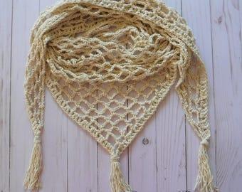 Crocheted Lace Scarf Shawl Fringe Vegan Ready To Ship Free Shipping