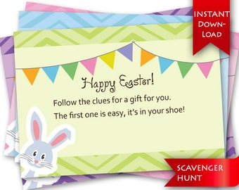On Sale! Easter Scavenger Hunt | Rhyming clues and blank template to add/edit your own clues {instant download}