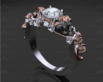 St. Ivy Skull Engagement Ring - Choose your metal