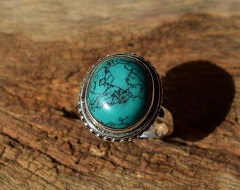size-8us turquoise stone ring,92.5 silver ring,vintage design ring