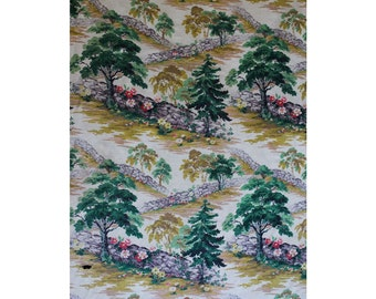50s Authentic Barkcloth - 1.9 Yards x 47.5 Inches - 1940s 1950s Decorator Fabric for Upholstery - Novelty Woodland Park Scene Print - 47532