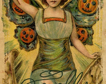 "Vintage Halloween Spells Pumpkin Witch Window or Wall Decal, Fine Art Print on Archival Paper or Canvas, 4"" x 6"" - 16"" x 24"" & Custom Sizes"