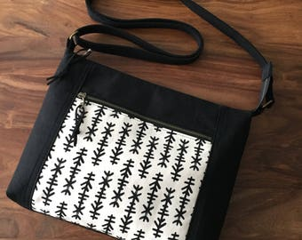 Traverse Crossbody Bag - Black and White Chimes - Ready to Ship
