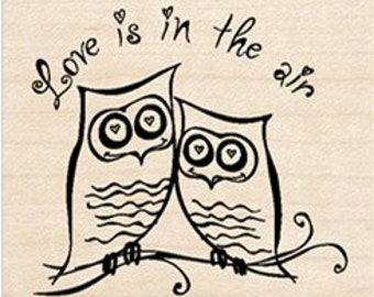 Love is in the Air - Rubber Stamp - Inkadinkado Valentine Love Owls Wood Mounted Rubber Stamp for card making rubber stamp owls