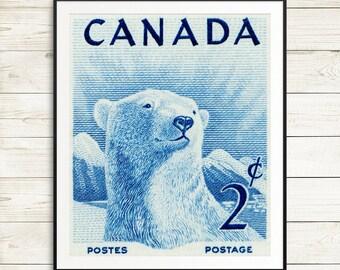 Polar bear poster, polar bear art print, polar bear nursery art, vintage polar bear prints, animal art print set, vintage canadiana, canada