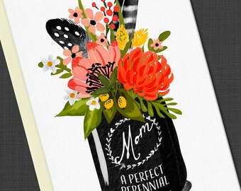 Mother's Day Greeting Card, Mother's Day Card, Mason Ball Jar, Flowers