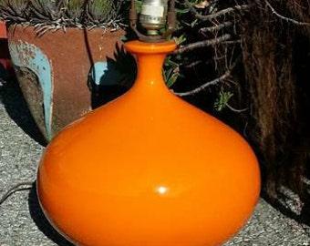 Vintage 1960s Orange Glaze Ceramic Lamp
