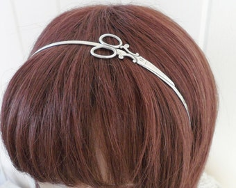 Steampunk Scissor Headband Metal Headband Silver Scissors
