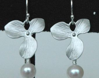 Sterling Silver Orchid Freshwater Pearl Earrings