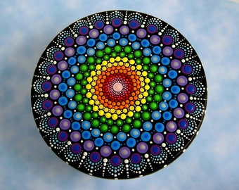 SHIP FREE-Jewelry storage-wooden trinket storage stash round box-OOAK unique original mandala art-pointillism-crystal rainbow dot art-glow