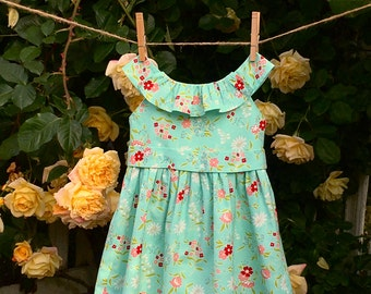 "Girls Dress PATTERN, instant digital download, perfect for a flower girl, includes photo tutorial, ""The Emma Rose Dress"""