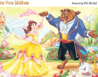 counted cross stitch pattern beauty and the beast 331W x 207H - T1289